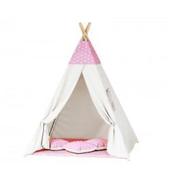 Namiot dziecięcy indiańskie TIPI WIGWAM - Pink White