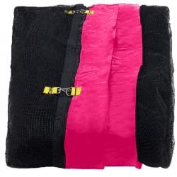 Siatka zewnętrzna trampolina 180cm 6ft 6 słupków Black net / Pink
