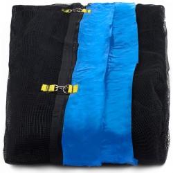 Siatka zewnętrzna trampolina 400cm 13ft 6 słupków Black net / Blue