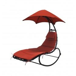 Leżanka, leżak, fotel bujany z parasolem Linder Exclusiv MC4356 RED