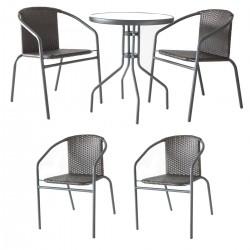 Zestaw Mebli Ogrodowych TERRACE SET stół + 4 krzesła RATTAN