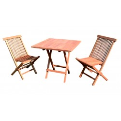 Zestaw stół i 2 krzesła z drewna tekowego TEAK BALKON SET TH019