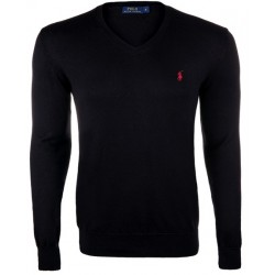 Sweter Ralph Lauren V-NECK SWEATER Black Red