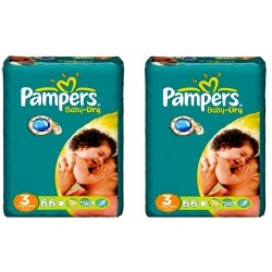 Pieluchy Pampers BABY DRY 3 MIDI (4-9kg) 2 pack - 132szt.