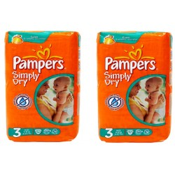 Pieluchy Pampers SIMPLY DRY 3 MIDI (4-9kg) 2 pack - 104szt.