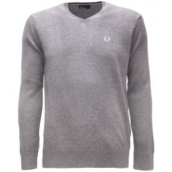 Sweter V-Nec Fred Perry - Grey Marl