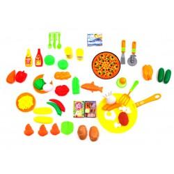 Zestaw Kuchenny owoce warzywa pizza patelnia parówki - (NF581-23)