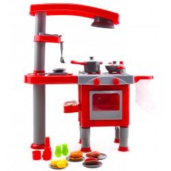 Kuchnia plastikowa z okapem + akcesoria - (008-83) Red