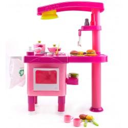 Kuchnia plastikowa z okapem + akcesoria - (008-82) Pink