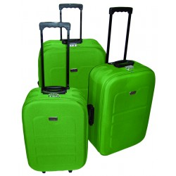 Komplet 3 walizek podróżnych LEX Travel ULTRALEKKIE - Lime green (MC3047)