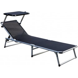 Leżak z daszkiem ogrodowy plażowy GARDEN KING - MC372310S Black