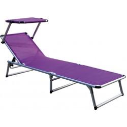 Leżak z daszkiem ogrodowy plażowy GARDEN KING - aGa MC372310L Lila