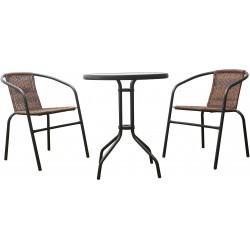 Zestaw Mebli Ogrodowych TERRACE SET stół + 2 krzesła RATTAN