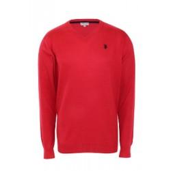 U.S. Polo ASSN. Sweter V-NECK Red